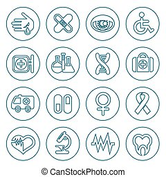 Flat line medical icons set