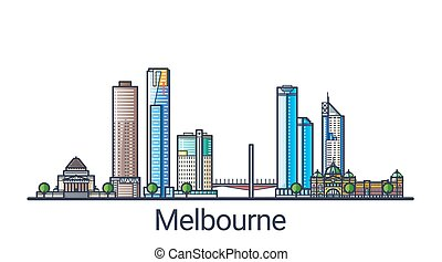 Flat line Melbourne banner - Banner of Melbourne city in...