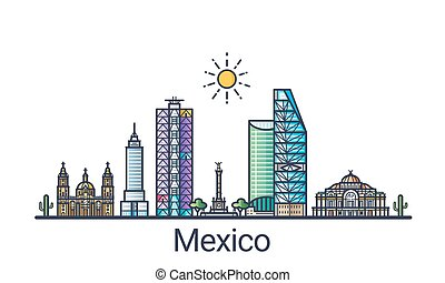 Flat line Mexico banner