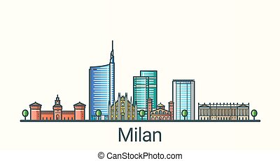 Banner of Milan city in flat line trendy style. All buildings separated and customizable. Line art.