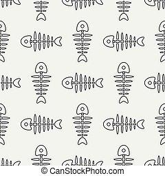 Flat line monochrome vector seamless pattern ocean fish bone, skeleton. Simplified retro. Childish cartoon style. Skull. Sea doodle art. Background. Illustration and element for your design, wallpaper