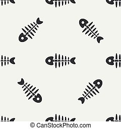 Flat line monochrome vector seamless pattern ocean fish bone, skeleton. Simplified retro. Childish cartoon style. Skull. Sea doodle art. Background. Illustration and element for your design, wallpaper