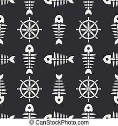 Flat line monochrome vector seamless pattern ocean fish bone, skeleton with steering wheel. Retro cartoon style. Skull. Sea doodle art. Background. Illustration and element for your design, wallpaper