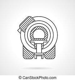 Flat line MRI device vector icon - Machine for magnetic...