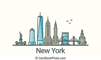 Banner of New York city in flat line trendy style. All buildings separated and customizable. Line art.
