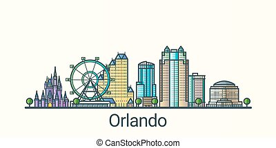 Flat line Orlando banner - Banner of Orlando city in flat...