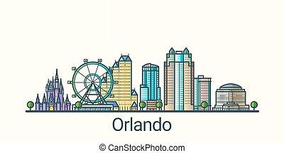 Flat line Orlando banner - Banner of Orlando city in flat...