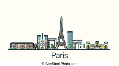 Flat line Paris banner - Banner of Paris city in flat line...