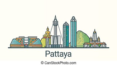 Banner of Pattaya city in flat line trendy style. All buildings separated and customizable. Line art.