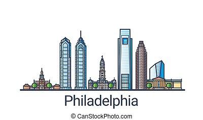 Flat line Philadelphia banner - Banner of Philadelphia city...