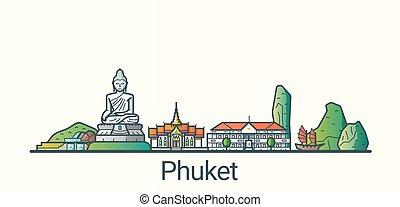 Flat line Phuket banner - Banner of Phuket city in flat line...