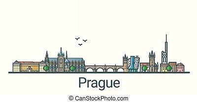 Flat line Prague banner - Banner of Prague city in flat line...