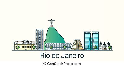 Banner of Rio de Janeiro city in flat line trendy style. Rio de Janeiro city line art. All buildings separated and customizable.