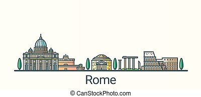 Flat line Rome banner - Banner of Rome city in flat line ...