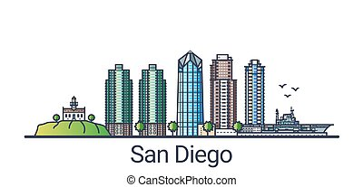 Flat line San Diego banner - Banner of San Diego city in...