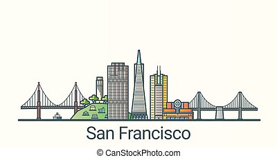 Flat line San Francisco banner - Banner of San Francisco...