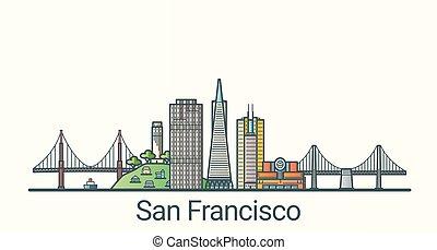 Flat line San Francisco banner - Banner of San Francisco...