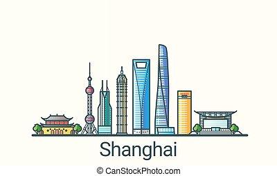 Flat line Shanghai banner - Banner of Shanghai city in flat...