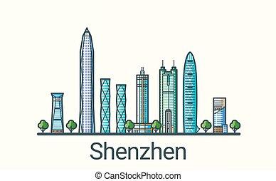 Flat line Shenzhen banner - Banner of Shenzhen city in flat...