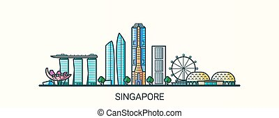 Flat line Singapore banner - Banner of Singapore city in...