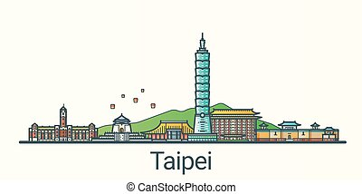Flat line Taipei banner - Banner of Taipei city in flat line...