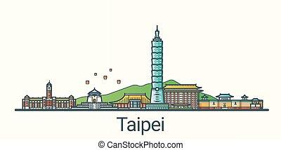 Flat line Taipei banner