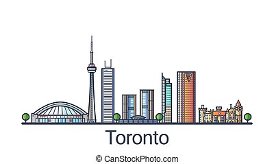 Flat line Toronto banner - Banner of Toronto city skyline in...