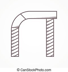 Flat line vector icon for arch
