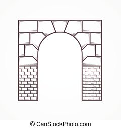 Flat line vector icon for archway