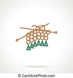 Flat line vector icon for knitting