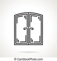 Flat line vector icon for window