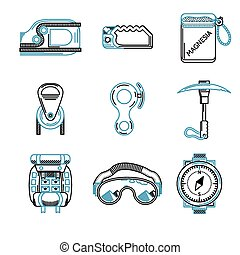 Flat line vector icons for mountaineering equipment