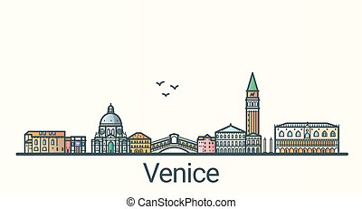 Flat line Venice banner - Banner of Venice city in flat line...