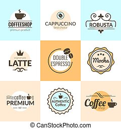 Flat line Vintage Coffee Labels Logo design vector typography lettering inspiration templates. Retro elements, business signs, badges, logos, label, stamps, icons and symbols.