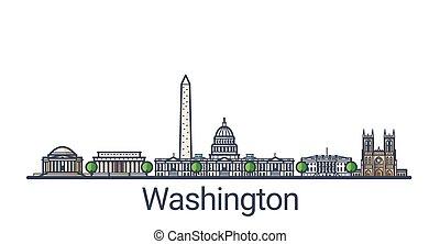 Flat line Washington banner - Banner of Washington D.C....