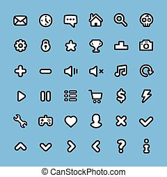 Flat line web icons set. Universal user interface icons for...
