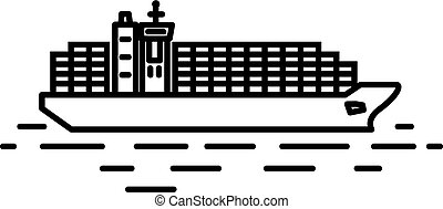 Flat linear container ship illustration