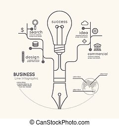 Flat linear Infographic Business Education Pen Tree with Light bulb Outline concept.Vector Illustration.