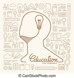 Flat linear Infographic Education Man Creative Thinking with Light bulb Outline concept.Vector Illustration.