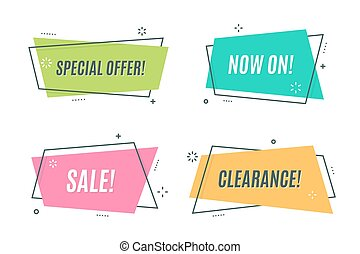 Flat linear promotion ribbon banner, scroll, price tag, sticker,