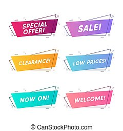 Flat linear promotion ribbon banner, scroll, price tag, sticker, badge.