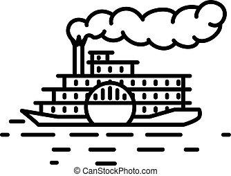 Flat linear retro steamboat illustration