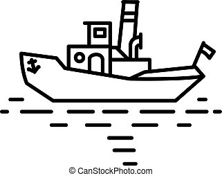 Flat linear retro steamship tug illustration
