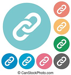 Flat link icons - Flat link icon set on round color...