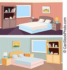 flat, livingroom, kamer, ouderwetse , slaapkamer, illustratie, vector, retro, achtergrond, woning, interieur, spotprent
