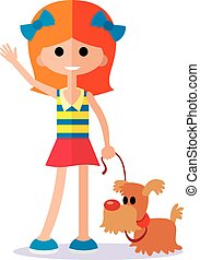 flat llittle girl with dog