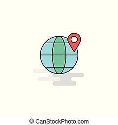 Flat Location on globe Icon. Vector