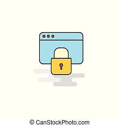 Flat Locked website Icon. Vector