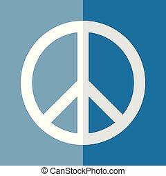 Flat Logo Peace Day White on Blue