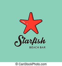 Flat logo with the image of a red starfish.